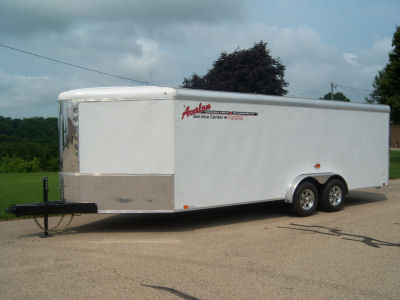 7' x 20' White V-Nose Cargo Trailer – Avalon Service Center Trailer Rental