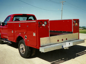 Red Utility Trailer Service Body and Truck Bed