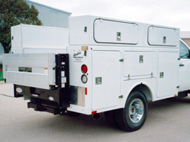 White Utility Trailer Service Body with Rear Lift
