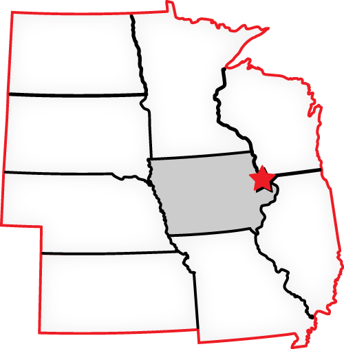 Map of states located around Iowa where Avalon Service Center is located.