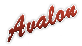 The word Avalon in script writing in red slanting upwards