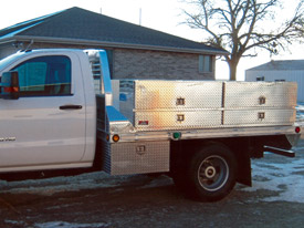 Aluminum Flatbed with Utility Containers - 1