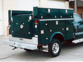 Black Utility Trailer Service Body with Back Panel