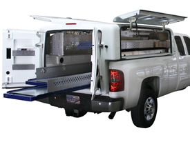 White Utility Trailer Service Body with Pullout Truck Bed